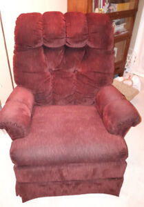 Swivel rocking chair,  excellent condition,  colouring is burgun