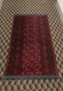 "61"" x 31"" Bukhara Afghan runner 100% hand knitted of wool"