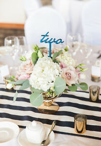 16 Navy and white striped table runners- Great for wedding decor