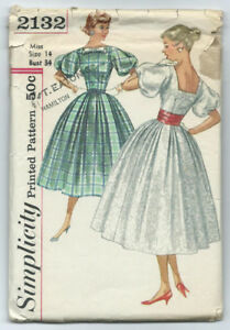 Vintage 1950s Simplicity Sewing Pattern 2132, Sz 14, Party Dress
