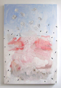 Two Original Large Abstract Oil Paintings, Blush and Pale Blue