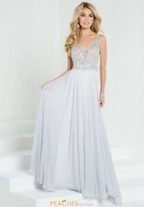 Tiffany Prom / Grad Dress - silver chiffon with beaded bodice