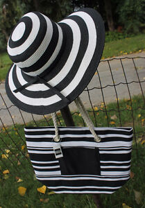 Black and White Stripe Beach Hat and Matching Tote Bag Kitchener / Waterloo Kitchener Area image 1