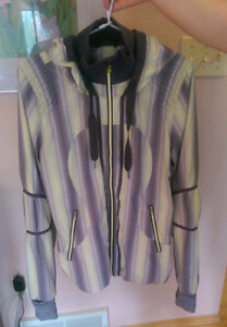 Lululemon Track and Field Jacket Citron Coal Ombre Stripe size 8