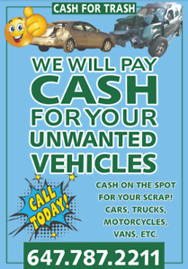 $CASH FOR SCRAP CARS$ FREE REMOVAL 647-787-2211