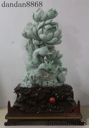 China Precious 100% Jadeite Emerald Jade Fine Hand Carve Lotus Swan Goose Statue