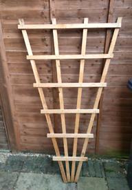 Triangular wooden trellis