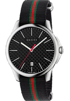 Dial Steel Strap - New Gucci G-Timeless Black Dial Steel Striped Nylon Strap YA126321 Swiss Watch