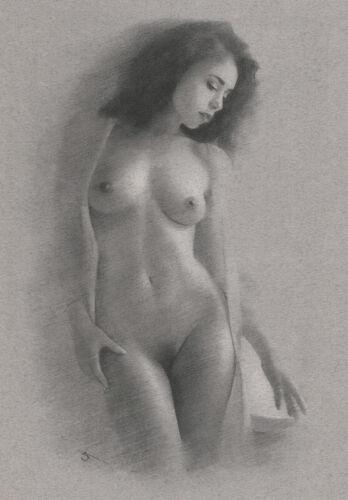 Nude Female model ORIGINAL DRAWING Charcoal Chalk Fine Realistic Art Naked woman