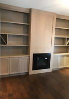 CUSTOM BUILT WALL UNIT,FIREPLACE MANTLE,BOOKCASE
