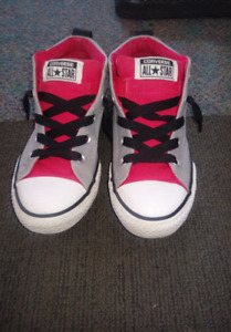 Grey and red boys/unisex converse shoes