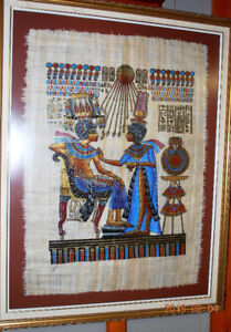 ORIGINAL EGYPTIAN PAINTING ON PAPYRUS GLASS FRAMED