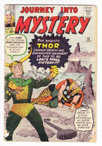 JOURNEY INTO MYSTERY #92 - May 1963 - Thor - Loki - Jack Kirby, Ditko - G/VG