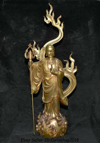 Tibet Bronze 24K Gold Gilt Ksitigarbha Boddhisattva Netherworld Leader Statue