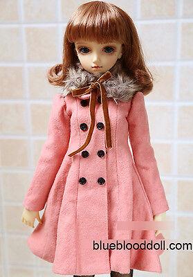 1/3 BJD 60cm girl SD13 doll outfits peach faux fur collar coat dollfie dream