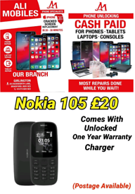 Nokia 105 Comes With Unlocked One Year Warranty Charger Postage Availa