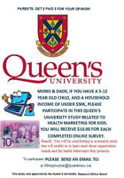 PARENTS Wanted For Queen's University Study, we pay YOU!