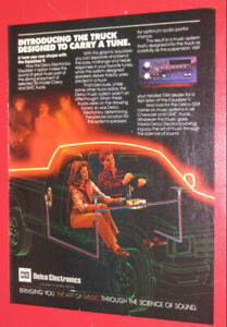 1985 DELCO ELECTRONICS CAR AUDIO AD WITH CHEVY S-10 PICKUP RETRO