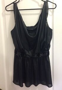 Size Large fit Black Silky Cowl Neck Top with Sequined Waist