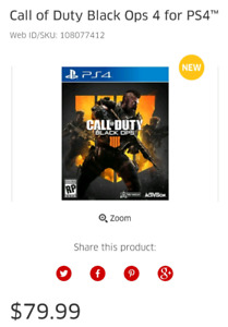 Call Of Duty Black Ops 4 for PS4. New.