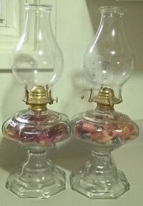 Vintage Pair Of Large Oil Lamps with Wicks