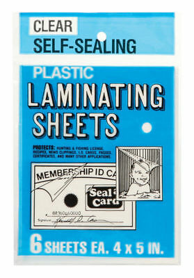 Seal A Card Plastic Clear Laminating Sheets Sheets No Tools Needed 64521 6 Pcs.