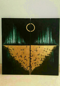 """2 canvas """"The Moon """" abstract oil painting"""