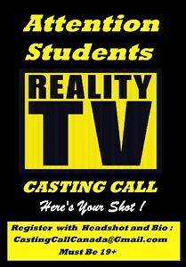 Wanted: Males and Females 19-30yrs of age for REALTY TV SHOW...