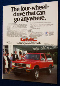 RED 1984 GMC S-15 JIMMY 4 X 4 RETRO TRUCK AD - ANONCE CAMION