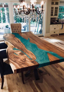 Live edge river tables with blue ecopoxy-walnut & maple