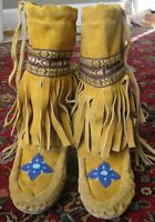 Vintage Kids Beaded with Fringe Mukluks ~ VG wearable condition