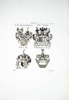1816 Wappen Kupferstich Tyroff Münch Bellinghausen Natorp Neu Pergler Perglas