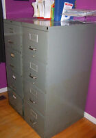 TWO LARGE METAL 4 DRAWER FILE CABINETS