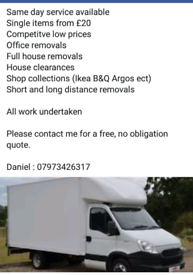 Man and van service from £20