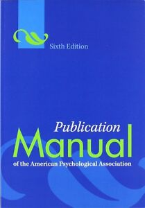 Pub. Manual of the American Psychological Association, 6th Ed.