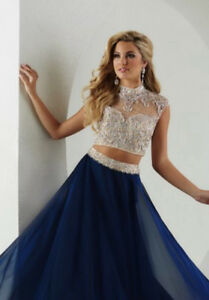 Two-piece Navy Blue sequenced Prom dress