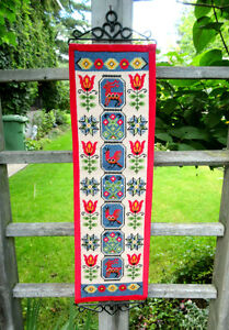 NORWEGIAN Needlepoint Animal & Flower Wall Hanging - Hand Stitch