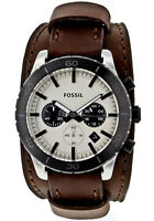NEW FOSSIL JR1395 Chronograph Leather Cuff Chronograph Watch