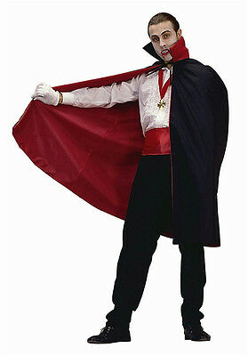 45'' Short Nylon Black and Red Reversible Vampire Disguise Cape w/ Collar 75004 (Red And Black Cape)