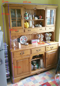 Solid wooden Kitchen Dresser with glass display cupboards