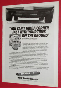 1983 KONI SHOCK ABSORBERS VINTAGE AD WITH GORDON JOHNCOCK - 80S
