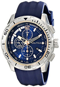 Nautica Men's NAD19505G NST 101 Stainless Steel Watch with Blue