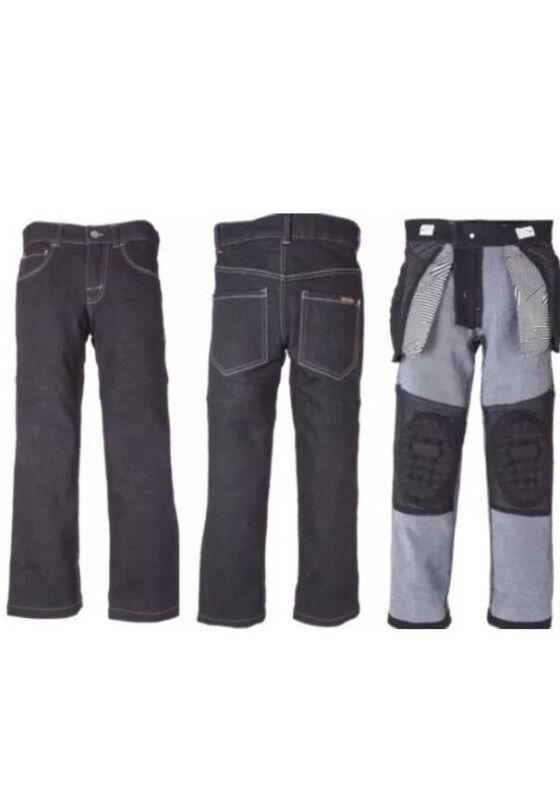 GRINDZ Boys Youth 4T Slim Fit Skate Park Denim Black Padded Jeans Skating Pads