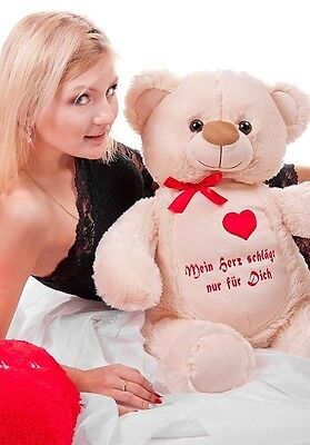 Geschenk aus Liebe Teddybär Plüschbär beige 70cm
