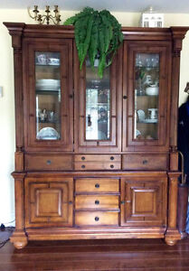 Cabinet & Hutch Solid wood with glass shelves...OBO