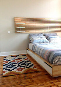 IKEA MANDAL QUEEN PLATFORM BED AND HEADBOARD