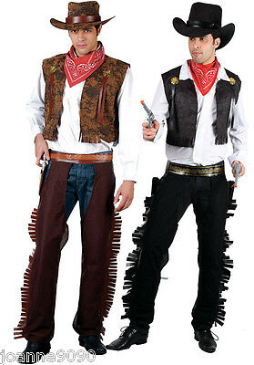 Mens Adults Black Brown Western Cowboy Stag Night Fancy Dress Costume Wild West