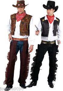 NEW-MENS-ADULT-BLACK-OR-BROWN-WESTERN-COWBOY-FANCY-DRESS-COSTUME-WILD-WEST
