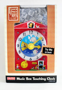 FISHER PRICE MUSIC BOX TEACHING CLOCK TOY EXCELLENT IN BOX