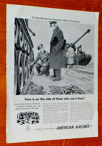 1951 AMERICAN AIRLINES AD WITH U.S. ARMY TANKS / ANONCE RETRO